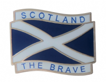 Scotland Wavy St Andrew's Saltire 'Scotland The Brave' Flag Pin Badge (T1221)